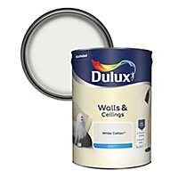 Dulux White cotton Matt Emulsion paint, 5L
