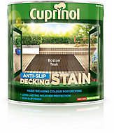 Cuprinol Boston teak Matt Slip resistant Decking Wood stain, 2.5L