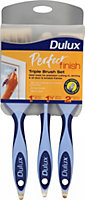 "Dulux Perfect Finish Split bristle tipped Paint brush (W)1"", 1½"", 2"", Set of 3"