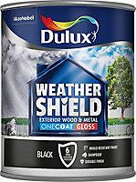 Dulux Weathershield Black Gloss Metal & wood paint, 0.75L