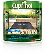 Cuprinol Black ash Matt Slip resistant Decking Wood stain, 2.5L
