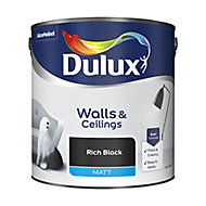 Dulux Rich black Matt Emulsion paint, 2.5L