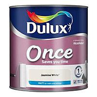 Dulux Once Jasmine white Matt Emulsion paint, 2.5L