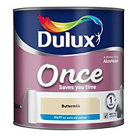 Dulux Once Buttermilk Matt Emulsion paint, 2.5L