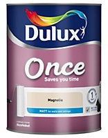 Dulux Once Magnolia Matt Emulsion paint 5L