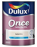 Dulux Once Vanilla white Matt Emulsion paint 5L