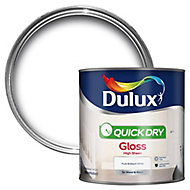 Dulux Quick Dry Pure brilliant white Gloss Wood & Metal Paint 2.5L