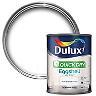 Dulux Quick dry Pure brilliant white Eggshell Metal & wood paint, 0.75L
