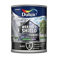 Dulux Weathershield Black Satin Paint 0.75L