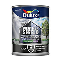Dulux Weathershield Black Satin Multi-surface paint, 750ml
