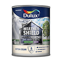 Dulux Weathershield Cotton cream Satin Multi-surface paint, 0.75L