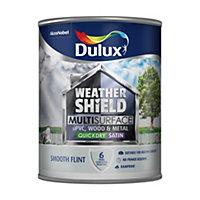 Dulux Weathershield Smooth flint Satin Paint 0.75L