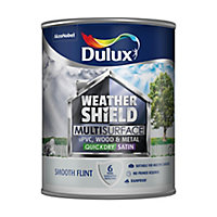 Dulux Weathershield Smooth flint Satin Multi-surface paint, 0.75L