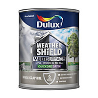 Dulux Weathershield Warm graphite Satin Multi-surface paint, 0.75