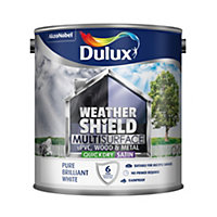 Dulux Weathershield Pure brilliant white Satin Paint 2.5L