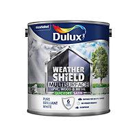 Dulux Weathershield Pure brilliant white Satin Multi-surface paint, 2.5L