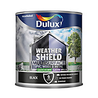 Dulux Weathershield Black Satin Multi-surface paint, 2.5L