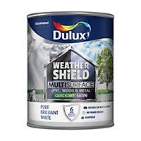 Dulux Weathershield Pure brilliant white Satin Paint 0.75L