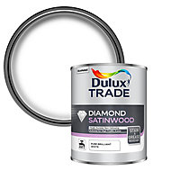 Dulux Trade Diamond Pure brilliant white Satinwood Metal & wood paint, 1L