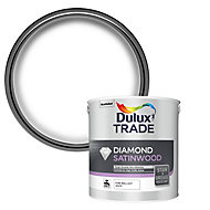 Dulux Trade Diamond Pure brilliant white Satinwood Metal & wood paint, 2.5L
