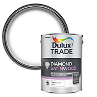 Dulux Trade Diamond Pure brilliant white Satinwood Metal & wood paint, 5L