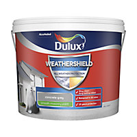 Dulux Weathershield All weather protection Concrete grey Smooth Matt Masonry paint, 10L