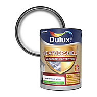 Dulux Weathershield Ultimate protection Pure brilliant white Smooth Matt Masonry paint, 5L