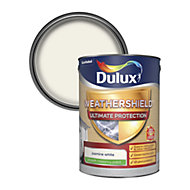 Dulux Weathershield ultimate protection Jasmine white Smooth Matt Masonry paint 5L
