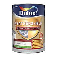 Dulux Weathershield Ultimate protection Jasmine white Smooth Matt Masonry paint, 5L