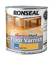 Ronseal Diamond hard Light oak Satin Floor Wood varnish, 2.5L
