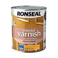 Ronseal Diamond hard Medium oak Satin Wood varnish, 0.75L