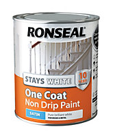 Ronseal White Satin One coat non drip paint 0.75L