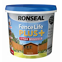 Ronseal Fence life plus Medium oak Matt Shed & fence treatment 5L
