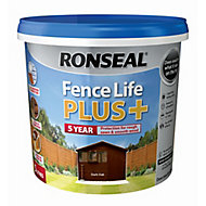 Ronseal Fence life plus Dark oak Matt Fence & shed Wood treatment, 5L