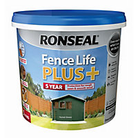 Ronseal Fence life plus Forest green Matt Fence & shed Wood treatment, 5L