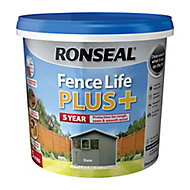 Ronseal Fence life plus Slate Matt Fence & shed Wood treatment, 5L