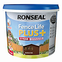 Ronseal Fence life plus Medium oak Matt Fence & shed Wood treatment 9L