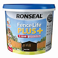 Ronseal Fence life plus Dark oak Matt Fence & shed Wood treatment, 9L