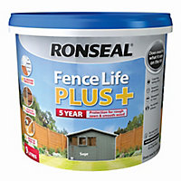Ronseal Fence life plus Sage Matt Fence & shed Wood treatment, 9L