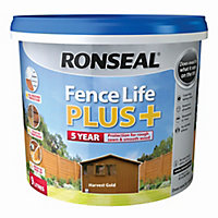 Ronseal Fence life plus Harvest gold Matt Fence & shed Wood treatment, 9L