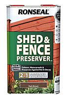 Ronseal Dark brown Fence & shed Wood preserver, 5L