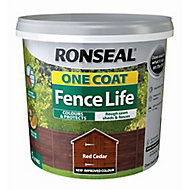 Ronseal One coat fence life Red cedar Matt Fence & shed Wood treatment, 5L