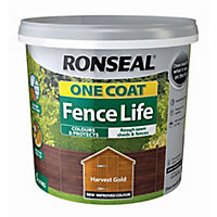 Ronseal One coat fence life Harvest gold Matt Fence & shed Wood treatment, 5L