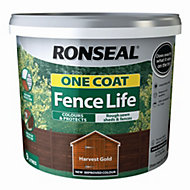 Ronseal One coat fence life Harvest gold Matt Shed & fence treatment 9L