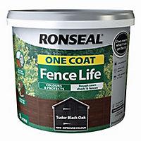 Ronseal One coat fence life Tudor black oak Matt Fence & shed Wood treatment, 9L