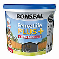 Ronseal Fence life plus Charcoal grey Matt Fence & shed Wood treatment, 9L