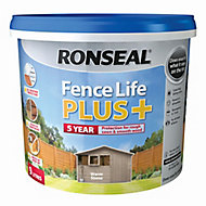 Ronseal Fence life plus Warm stone Matt Fence & shed Wood treatment, 9L