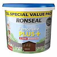 Ronseal Fence life plus Medium oak Matt Fence & shed Wood treatment, 12L