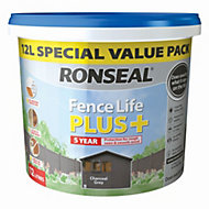 Ronseal Fence life Charcoal grey Matt Opaque Shed & fence treatment 12L