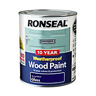 Ronseal Royal blue Gloss Wood paint, 0.75L
